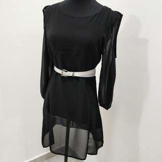 Elegant Off Shoulder Black Chiffon Dress
