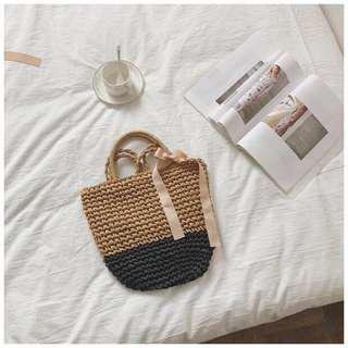 🚚 Petit Amie Contrast Straw Woven Bag