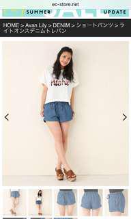 日本專櫃品牌avan lily 牛仔休閒短褲