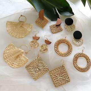 BNIB Large Fan Bamboo Earrings