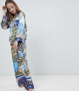 ASOS DESIGN tropical border print satin pyjama set