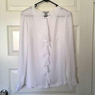 H&M Size 8 White Ruffle Long Sleeve Blouse Shirt Top