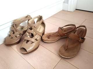 2 x Brown heeled sandals!