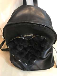 Moschino backpack fur black colour