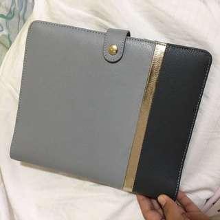 Kikki K Large, A5 size Grey Leather Planner Organizer Journal Binder