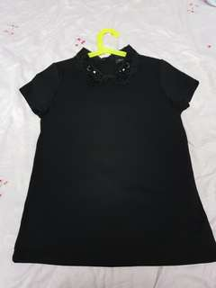 Iroo Black Blouse with Beads Collar