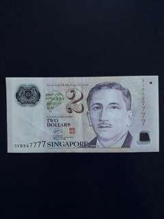 3VB 847777 - Singapore Portrait Series $2 Currency Note.