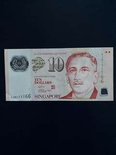 4JH 111166 - Singapore Portrait Series $10 Currency Note.