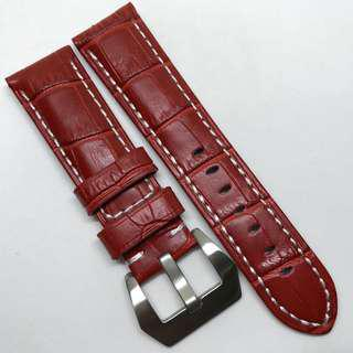 Premium Grade 22mm Watch Strap Red Colour with white stitching Crocodile Embossed Genuine Leather