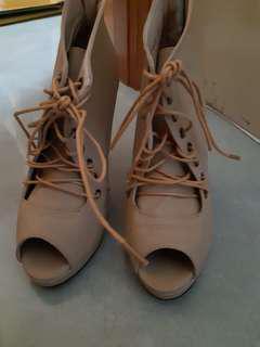 交叉綁帶後拉鏈露趾高跟鞋
