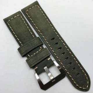Premium Grade 24mm Watch Strap Military Green Colour Genuine Suede Leather