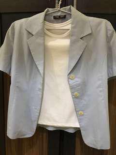 Soft blue outer +white shirt