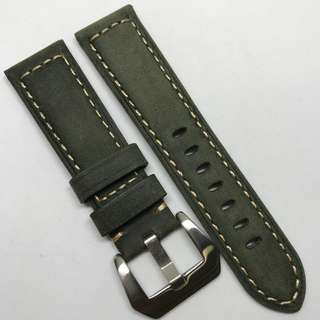 Premium Grade 22mm Watch Strap Military Green Colour Genuine Suede Leather