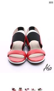 玩美涼夏 舒適百搭真皮涼鞋~橘紅
