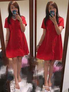 🚚 (實拍)紅色綁帶洋裝
