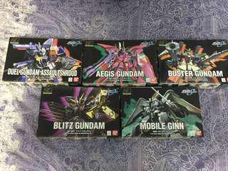 HG GUNDAM SEED 模型5隻 Duel Gundam Assault Shroud Aegis Gundam Buster Gundam Blitz Gundam Mobile Ginn