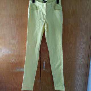 H&M黃色窄腳褲 colour pants trousers leggings jeans
