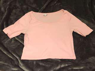 H&M pink ribbed crop top