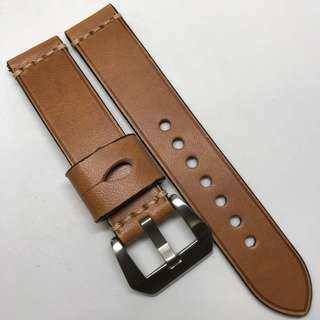 Premium Grade 20mm Watch Strap Brown Colour Genuine Leather With Single Line Stitching