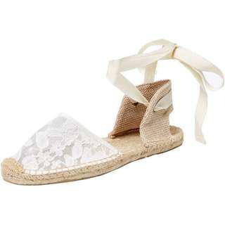 🚚 美國品牌Soludos超美Chantilly透白米色綁帶蕾絲草鞋