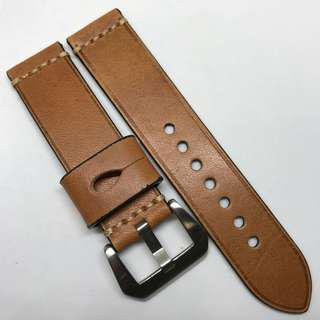 Premium Grade 22mm Watch Strap Brown Colour Genuine Leather With Single Line Stitching