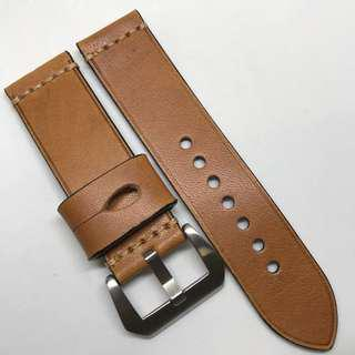 Premium Grade 24mm Watch Strap Brown Colour Genuine Leather With Single Line Stitching