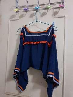 私物🔴🔴民族風童趣毛球透視短版寬袖罩衫 外搭上衣