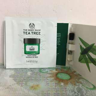 The Body Shop 一套4件 茶樹抗瑕疵睡眠面膜 Tea Tree Anti-imperfection Night Mask 茶樹油 Tea Tree Oil