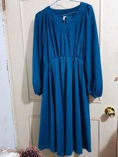 🔴私物🔴清新氣質湖水綠古著洋裝連身裙