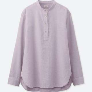 {bn} uniqlo flannel stand collar long sleeve shirt