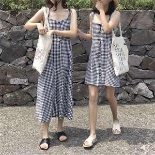 🚚 格子洋裝(短)