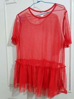 🔴私物🔴H&M紅色網紗罩衫上衣
