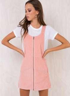 AFENDS ALMOND PINAFORE DRESS