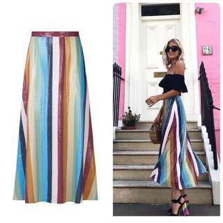 代購英國設計師品牌 ig部落客 街拍紅款 新配色 PENELOPE Midi条纹亮片半身裙