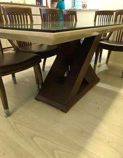 6 chairs marble dining set