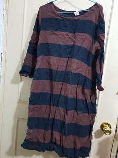 🔴私物🔴咖啡x藍橫條紋寬鬆口袋棉麻洋裝