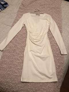 White bodycon wrap dress size xxs 4