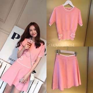 🚚 氣質爆棚的粉色套裝上衣裙子