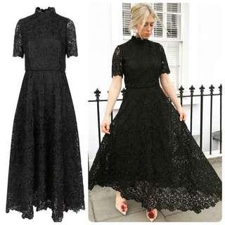 代購英國設計師品牌 優雅黑LOLA高領蕾絲長連衣裙 晚禮服