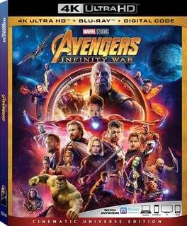 Marvel Avengers Infinity War 4K藍光碟