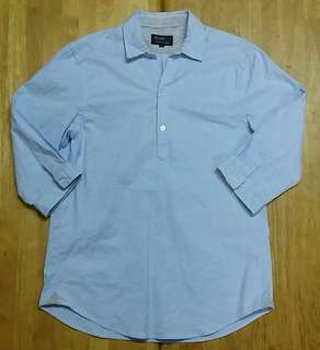 (M) Beams Half Button 3/4 Sleeve Shirt