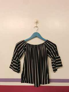 Black and white striped off shoulder top