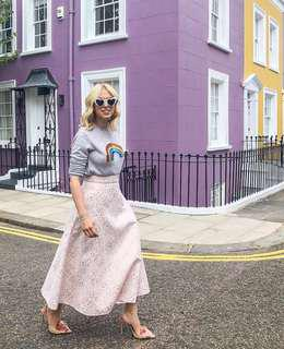 代購英國設計師品牌 新款 淡粉金屬印花A字型中長半身裙