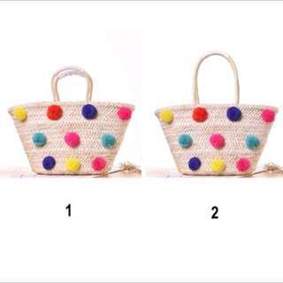 Colorful pom pom straw rattan handbag