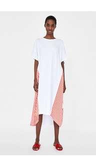 Zara打結設計撞色條紋洋裝