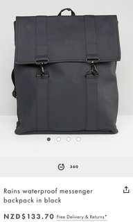 RAINS waterproof messenger backpack (BLACK)