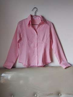Pink Houndstooth Shirt (Kemeja Pink)