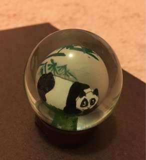 大熊貓玻璃球連座