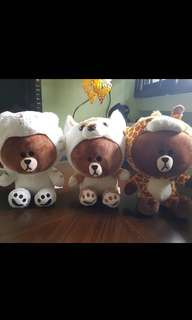 Authentic LINE friends stuffed toy/ Plushie Brown bear in giraffe, tiger, and fox costume