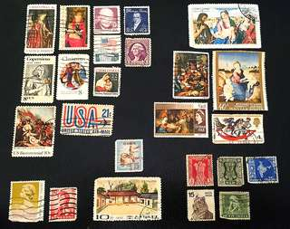 Stamps (USA, Christmas Theme, Japan, Korea, India, Hong Kong)